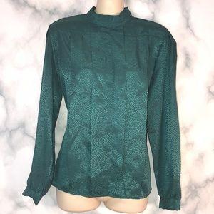 🔮 3/$12Vintage Suburban petites emerald blouse 8